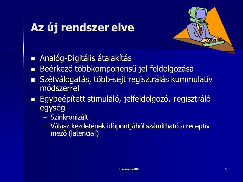 Berényi 2006.6 Az új rendszer elve Analóg-Digitális átalakítás Analóg-Digitális átalakítás Beérkező többkomponensű jel feldolgozása Beérkező többkomponensű jel feldolgozása Szétválogatás, több-sejt regisztrálás kummulatív módszerrel Szétválogatás, több-sejt regisztrálás kummulatív módszerrel Egybeépített stimuláló, jelfeldolgozó, regisztráló egység Egybeépített stimuláló, jelfeldolgozó, regisztráló egység –Szinkronizált –Válasz kezdetének időpontjából számítható a receptív mező (latencia!)