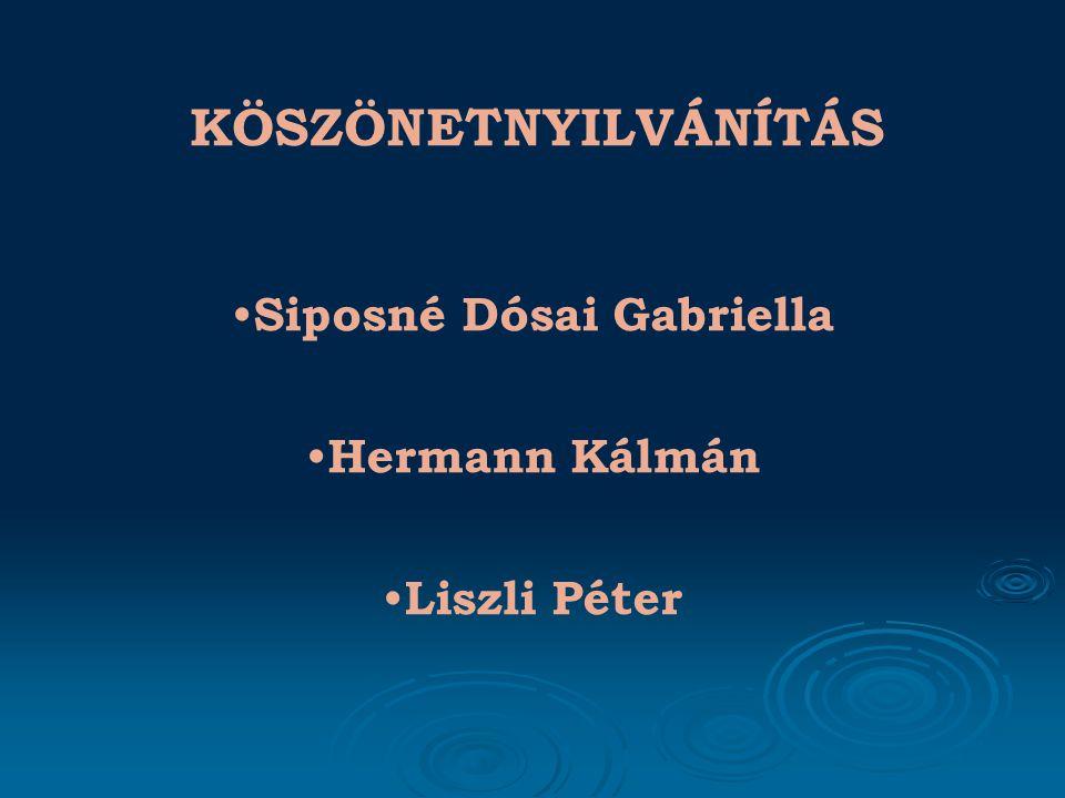 KÖSZÖNETNYILVÁNÍTÁS Siposné Dósai Gabriella Hermann Kálmán Liszli Péter