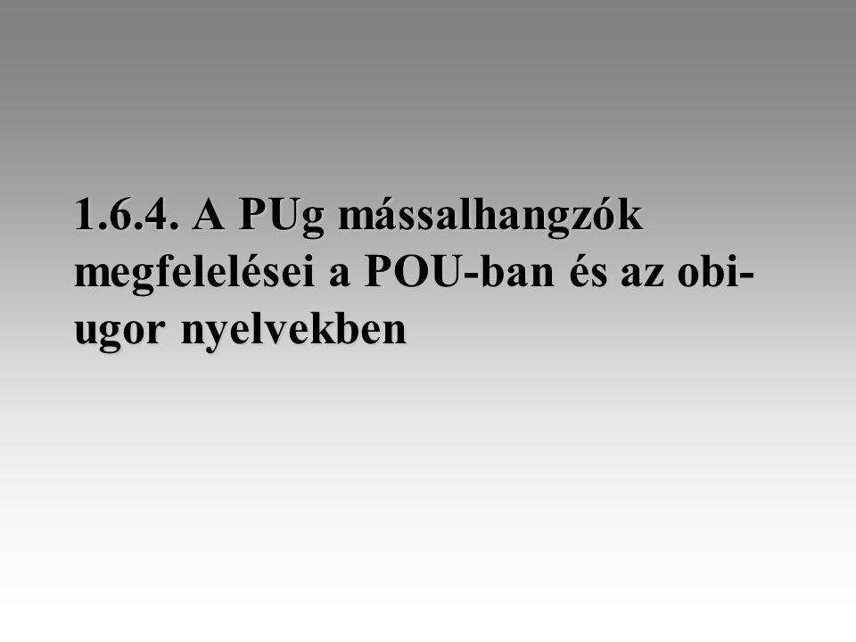 1.6.4. A PUg mássalhangzók megfelelései a POU-ban és az obi- ugor nyelvekben