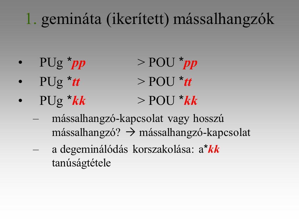 1. gemináta (ikerített) mássalhangzók PUg * pp> POU * pp PUg * tt> POU * tt PUg * kk> POU * kk –mássalhangzó-kapcsolat vagy hosszú mássalhangzó?  más