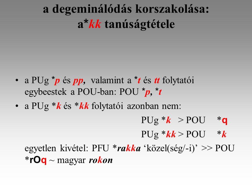 a degeminálódás korszakolása: a * kk tanúságtétele a PUg * p és pp, valamint a * t és tt folytatói egybeestek a POU-ban: POU * p, * t a PUg *k és *kk folytatói azonban nem: PUg *k > POU* q PUg *kk > POU*k egyetlen kivétel: PFU *rakka 'közel(ség/-i)' >> POU * rOq ~ magyar rokon