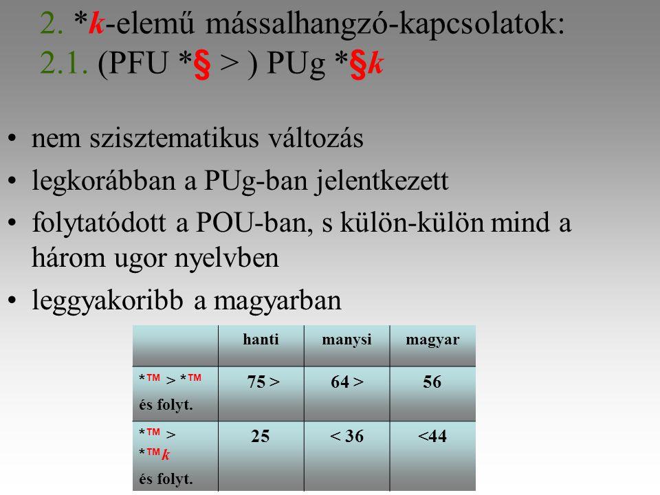 2. *k-elemű mássalhangzó-kapcsolatok: 2.1.