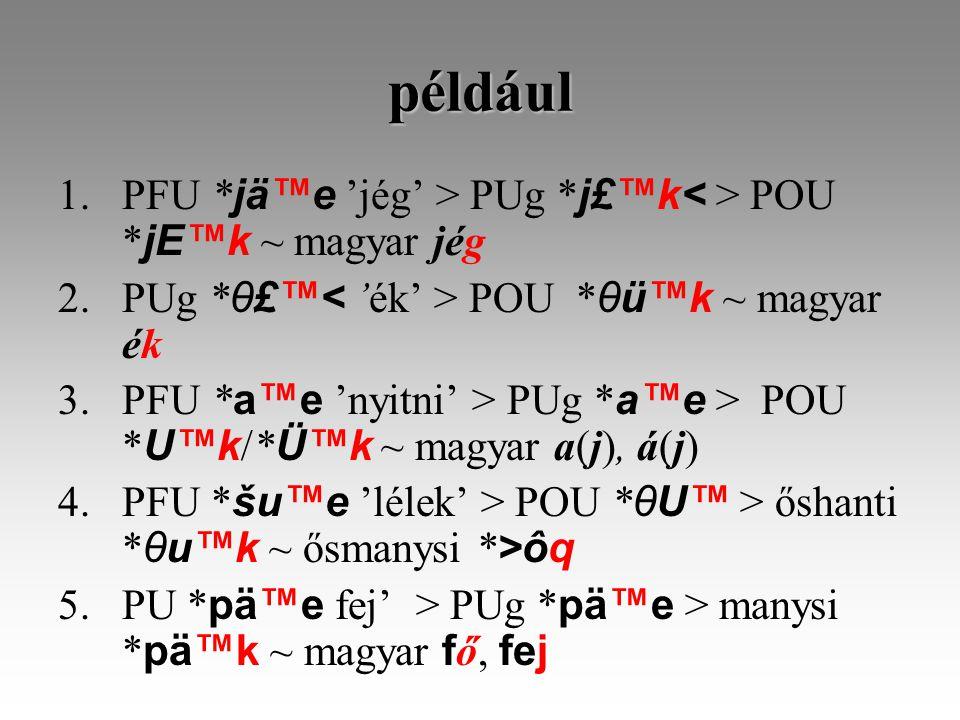 például 1.PFU * jä™e 'jég' > PUg * j£™k POU * jE™k ~ magyar jég 2.PUg * θ£™ POU * θü™k ~ magyar ék 3.PFU * a™e 'nyitni' > PUg * a™e > POU * U™k /* Ü™k ~ magyar a(j), á(j) 4.PFU * šu™e 'lélek' > POU * θU™ > őshanti * θu™k ~ ősmanysi * >ôq 5.PU * pä™e fej' > PUg * pä™e > manysi * pä™k ~ magyar f ő, fej
