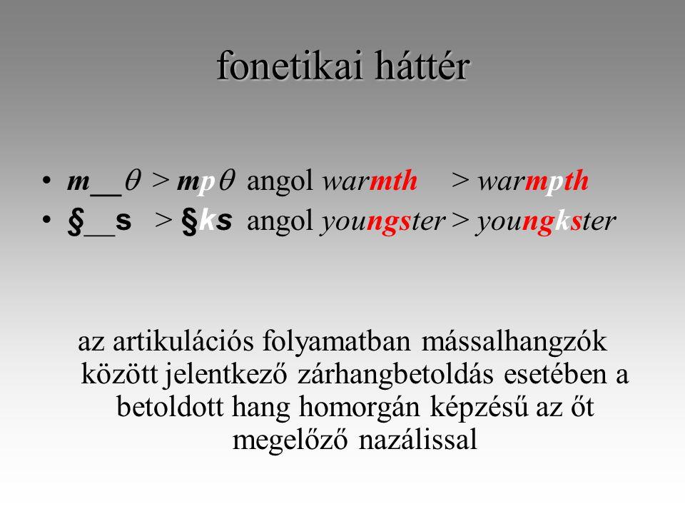fonetikai háttér m__  > mp  angol warmth> warmpth § __ s > §ks angol youngster> youngkster az artikulációs folyamatban mássalhangzók között jelentkező zárhangbetoldás esetében a betoldott hang homorgán képzésű az őt megelőző nazálissal