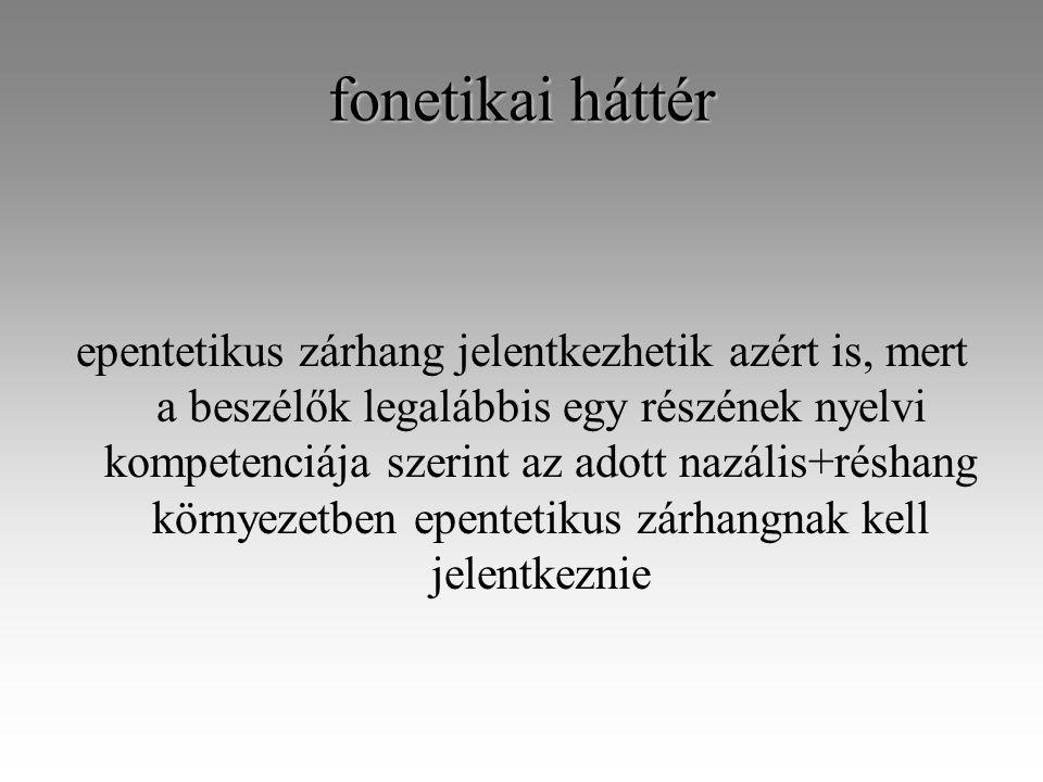 fonetikai háttér epentetikus zárhang jelentkezhetik azért is, mert a beszélők legalábbis egy részének nyelvi kompetenciája szerint az adott nazális+réshang környezetben epentetikus zárhangnak kell jelentkeznie