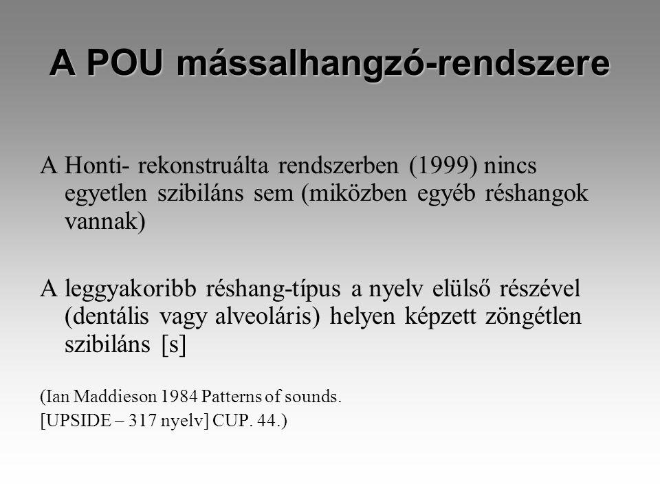 A POU mássalhangzó-rendszere A Honti- rekonstruálta rendszerben (1999) nincs egyetlen szibiláns sem (miközben egyéb réshangok vannak) A leggyakoribb réshang-típus a nyelv elülső részével (dentális vagy alveoláris) helyen képzett zöngétlen szibiláns [s] (Ian Maddieson 1984 Patterns of sounds.