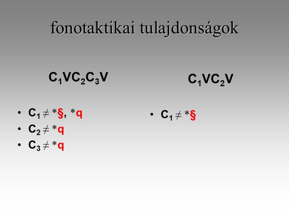 fonotaktikai tulajdonságok C 1 VC 2 C 3 V C 1 ≠ * §, * q C 2 ≠ * q C 3 ≠ * q C 1 VC 2 V C 1 ≠ * §