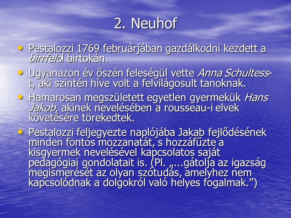 Nemsokára felépültek a gazdasági épületek, s a családi lakóház földszinti része, melyet Neuhofnak neveztek el.