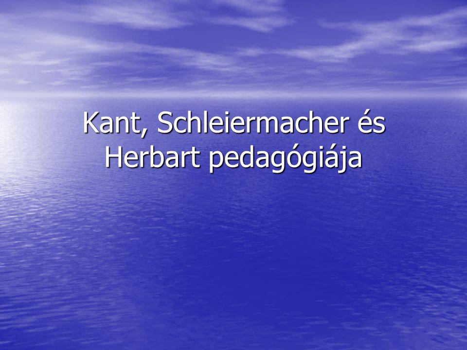 Immanuel Kant (1724-1804) Szülei a pietizmus hívei Szülei a pietizmus hívei A königsbergi egyetemen tanul A königsbergi egyetemen tanul Házitanító, majd magántanár Königsbergben Házitanító, majd magántanár Königsbergben Pedagógiai előadásait, tanítványa Th.
