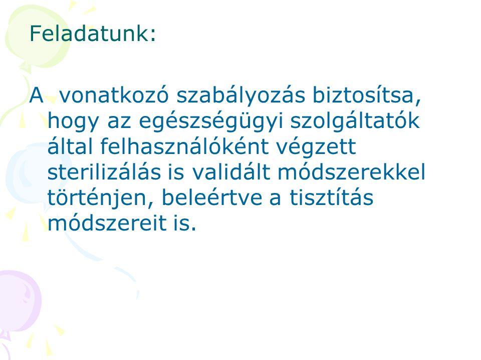 Feladatunk: A vonatkozó szabályozás biztosítsa, hogy az egészségügyi szolgáltatók által felhasználóként végzett sterilizálás is validált módszerekkel