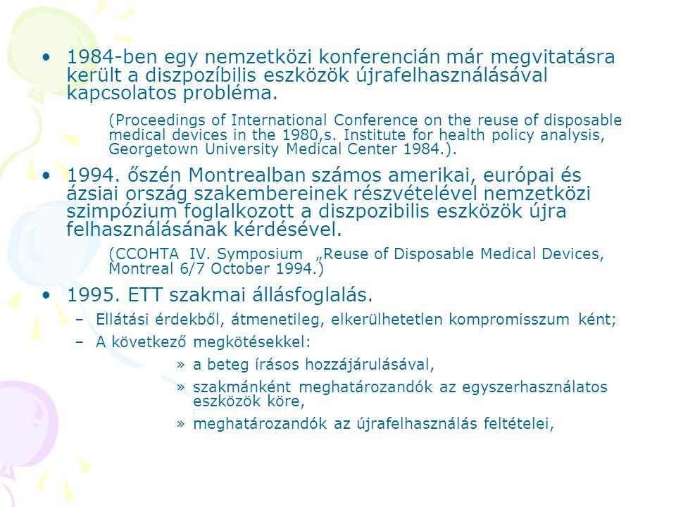 1984-ben egy nemzetközi konferencián már megvitatásra került a diszpozíbilis eszközök újrafelhasználásával kapcsolatos probléma. (Proceedings of Inter