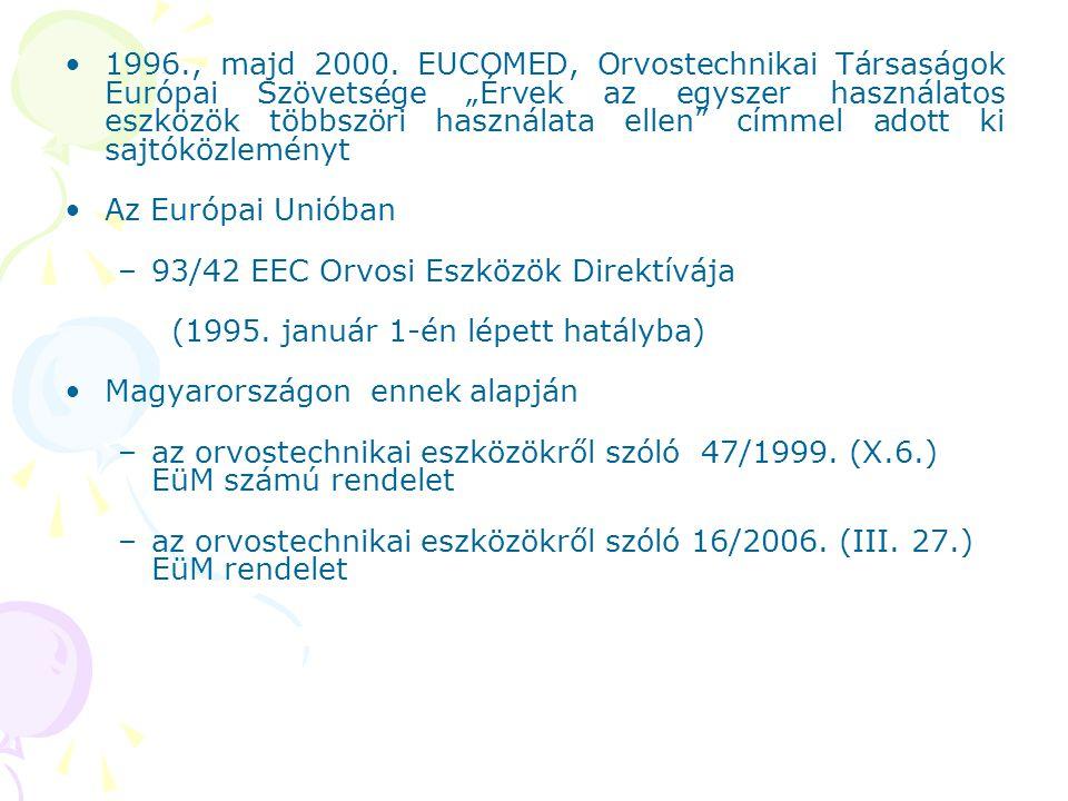 """1996., majd 2000. EUCOMED, Orvostechnikai Társaságok Európai Szövetsége """"Érvek az egyszer használatos eszközök többszöri használata ellen"""" címmel adot"""