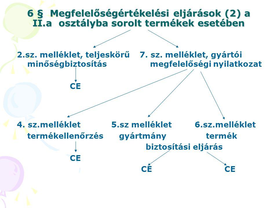 6 § Megfelelőségértékelési eljárások (2) a II.a osztályba sorolt termékek esetében 2.sz. melléklet, teljeskörű minőségbiztosítás CE 7. sz. melléklet,