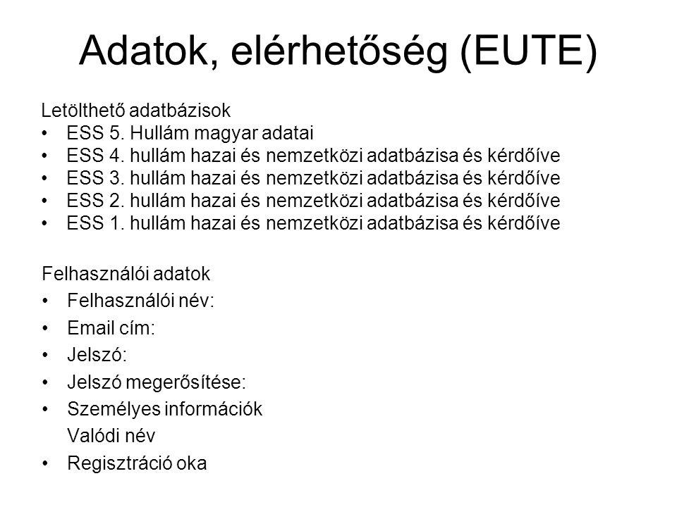 Adatok, elérhetőség (EUTE) Letölthető adatbázisok ESS 5.