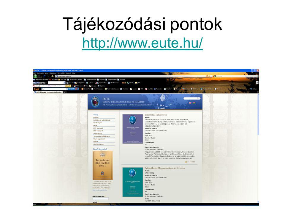 Tájékozódási pontok http://www.eute.hu/ http://www.eute.hu/