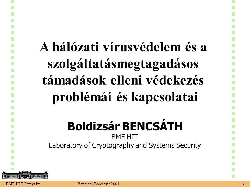 BME HIT Crysys.hu Bencsáth Boldizsár 2004 1 A hálózati vírusvédelem és a szolgáltatásmegtagadásos támadások elleni védekezés problémái és kapcsolatai Boldizsár BENCSÁTH BME HIT Laboratory of Cryptography and Systems Security