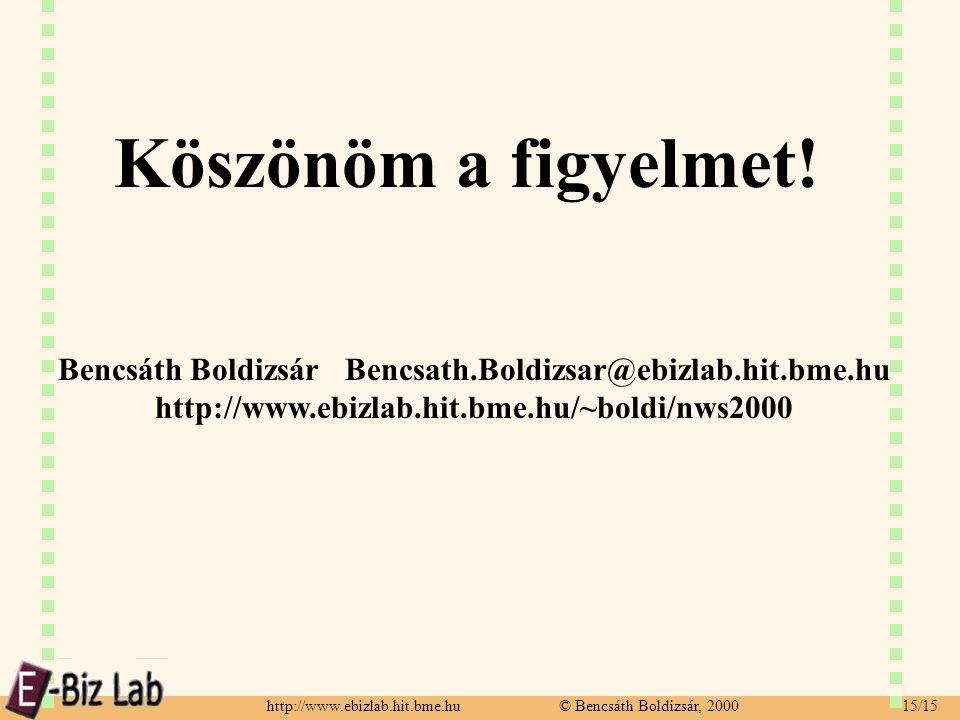 http://www.ebizlab.hit.bme.hu © Bencsáth Boldizsár, 2000 15/15 Köszönöm a figyelmet! Bencsáth Boldizsár Bencsath.Boldizsar@ebizlab.hit.bme.hu http://w