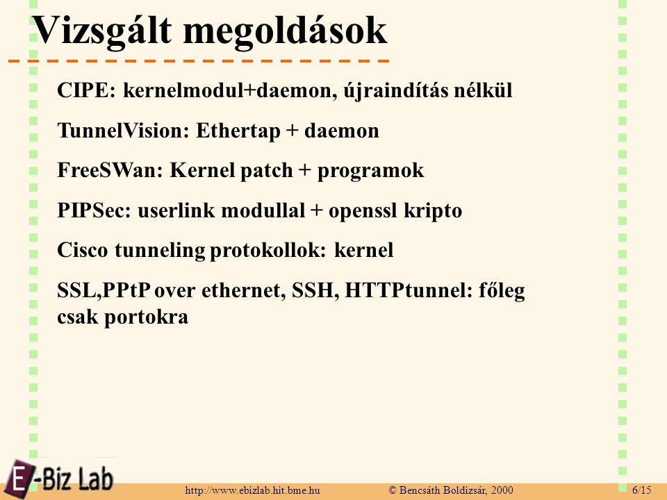 http://www.ebizlab.hit.bme.hu © Bencsáth Boldizsár, 2000 6/15 Vizsgált megoldások CIPE: kernelmodul+daemon, újraindítás nélkül TunnelVision: Ethertap + daemon FreeSWan: Kernel patch + programok PIPSec: userlink modullal + openssl kripto Cisco tunneling protokollok: kernel SSL,PPtP over ethernet, SSH, HTTPtunnel: főleg csak portokra