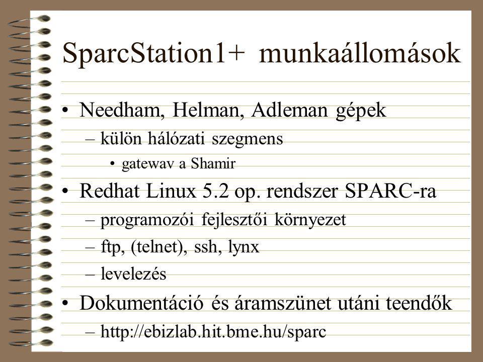 SparcStation1+ munkaállomások Needham, Helman, Adleman gépek –külön hálózati szegmens gatewav a Shamir Redhat Linux 5.2 op.