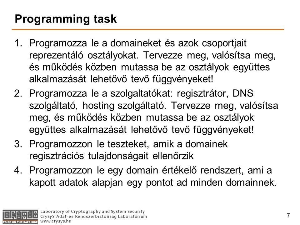 Laboratory of Cryptography and System Security CrySyS Adat- és Rendszerbiztonság Laboratórium www.crysys.hu Programming task 1.Programozza le a domaineket és azok csoportjait reprezentáló osztályokat.