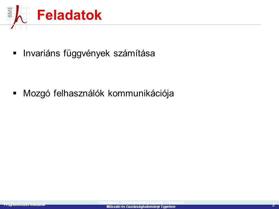 Programmozás feladatok 2 Telek Miklós, Híradástechnikai Tanszék Budapesti Műszaki és Gazdaságtudományi Egyetem Feladatok  Invariáns függvények számít