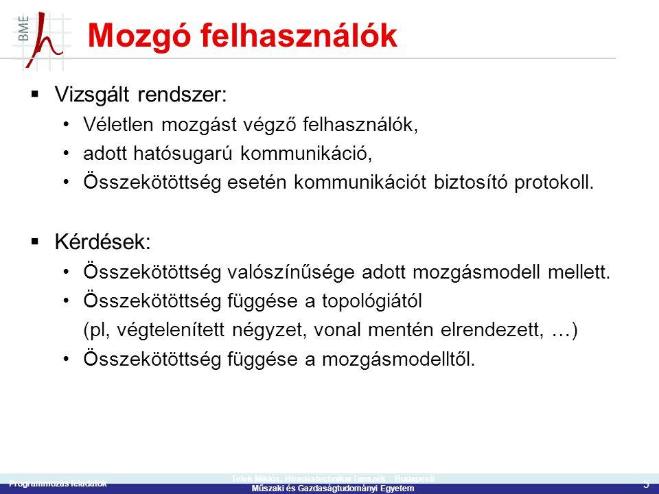 Programmozás feladatok 5 Telek Miklós, Híradástechnikai Tanszék Budapesti Műszaki és Gazdaságtudományi Egyetem Mozgó felhasználók  Vizsgált rendszer: