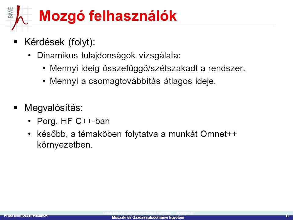 Programmozás feladatok 6 Telek Miklós, Híradástechnikai Tanszék Budapesti Műszaki és Gazdaságtudományi Egyetem Mozgó felhasználók  Kérdések (folyt):