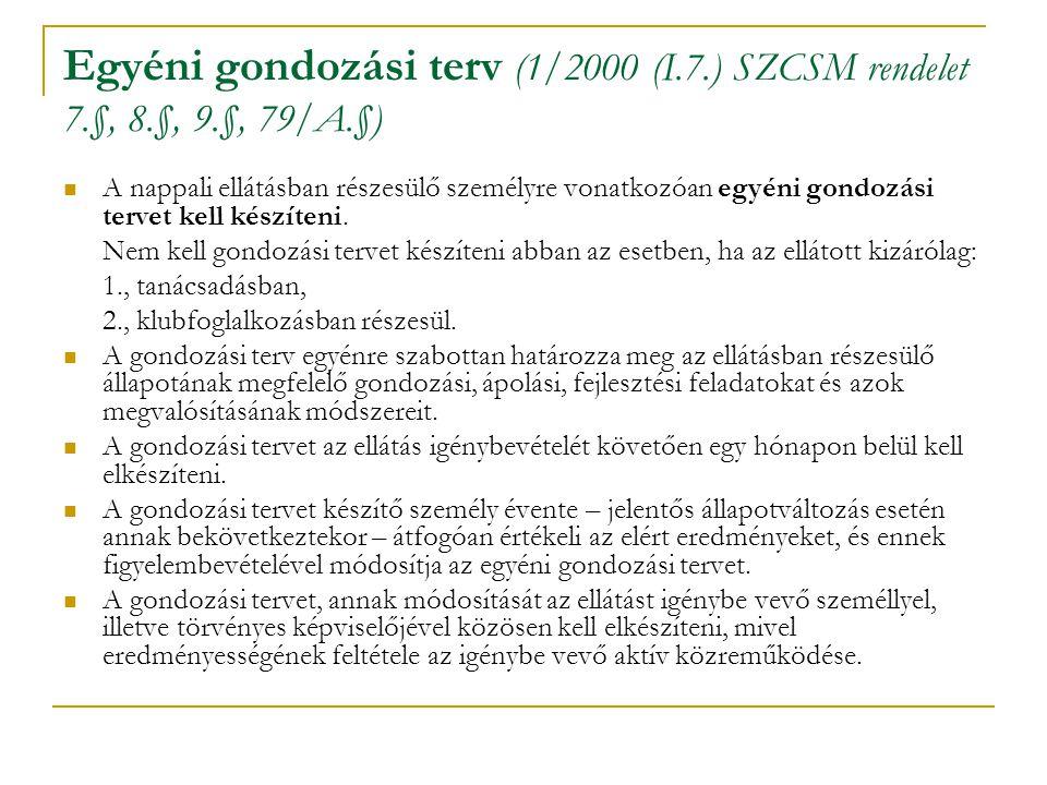 Egyéni gondozási terv (1/2000 (I.7.) SZCSM rendelet 7.§, 8.§, 9.§, 79/A.§) A nappali ellátásban részesülő személyre vonatkozóan egyéni gondozási terve