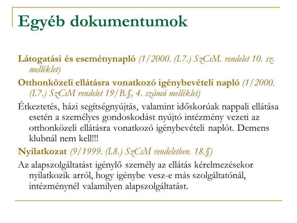 Egyéb dokumentumok Látogatási és eseménynapló (1/2000. (I.7.) SzCsM. rendelet 10. sz. melléklet) Otthonközeli ellátásra vonatkozó igénybevételi napló
