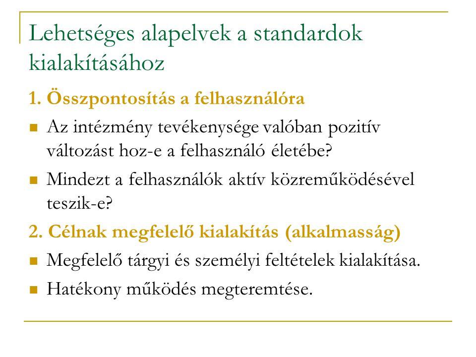 Lehetséges alapelvek a standardok kialakításához 1. Összpontosítás a felhasználóra Az intézmény tevékenysége valóban pozitív változást hoz-e a felhasz