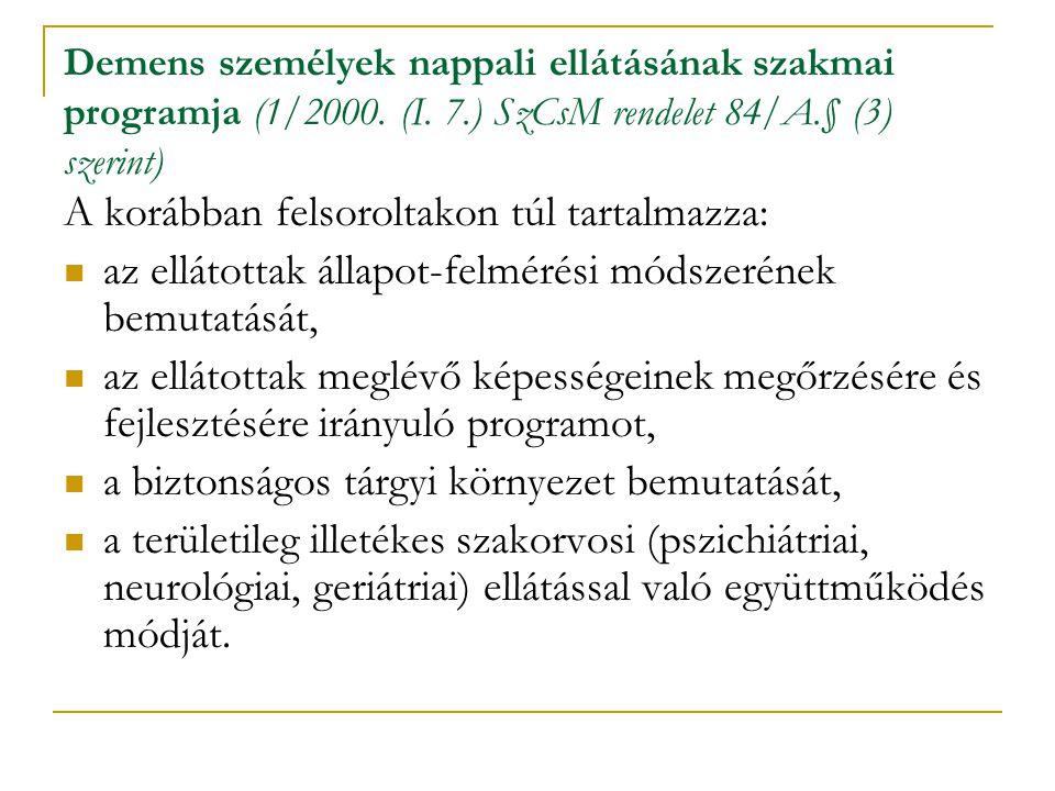 Demens személyek nappali ellátásának szakmai programja (1/2000. (I. 7.) SzCsM rendelet 84/A.§ (3) szerint) A korábban felsoroltakon túl tartalmazza: a