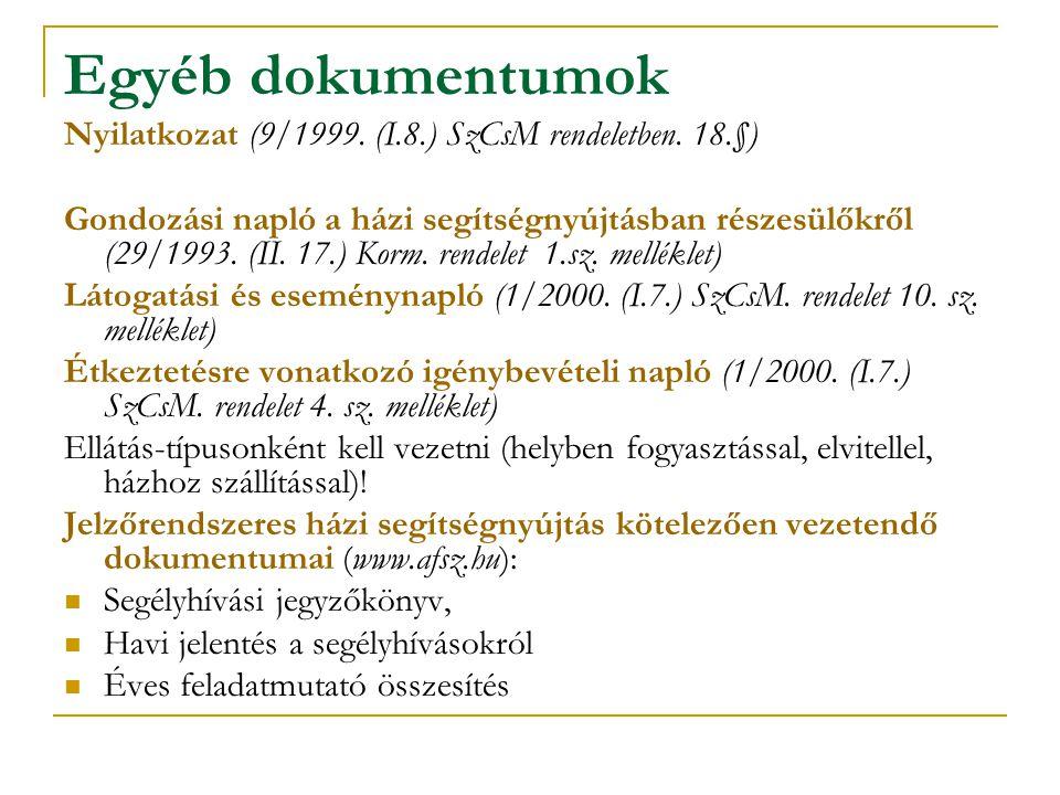 Egyéb dokumentumok Nyilatkozat (9/1999. (I.8.) SzCsM rendeletben. 18.§) Gondozási napló a házi segítségnyújtásban részesülőkről (29/1993. (II. 17.) Ko