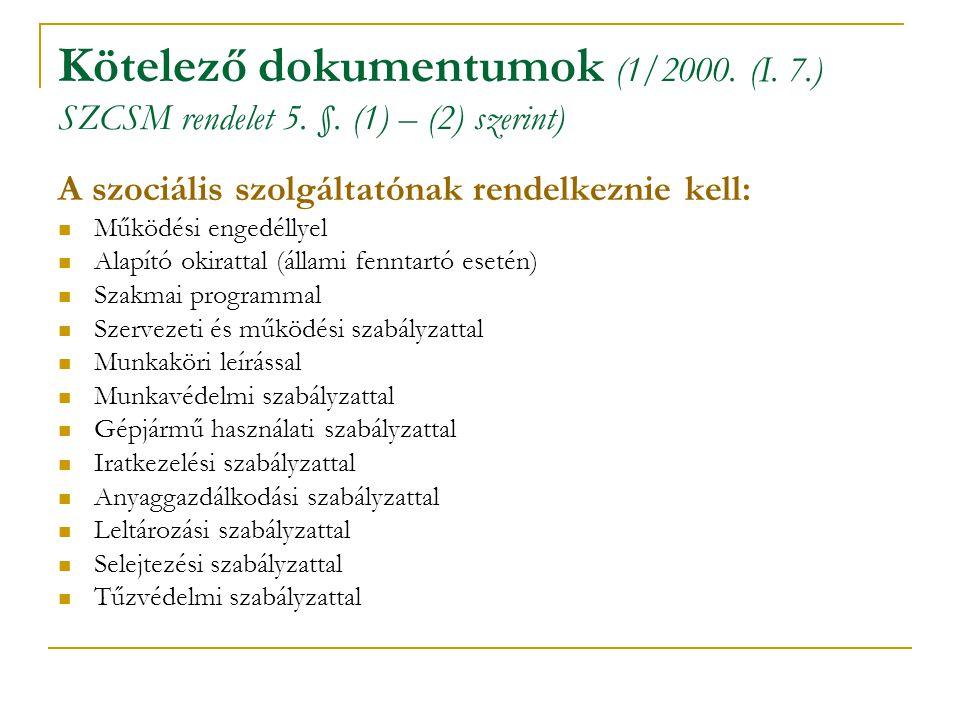 Kötelező dokumentumok (1/2000. (I. 7.) SZCSM rendelet 5. §. (1) – (2) szerint) A szociális szolgáltatónak rendelkeznie kell: Működési engedéllyel Alap