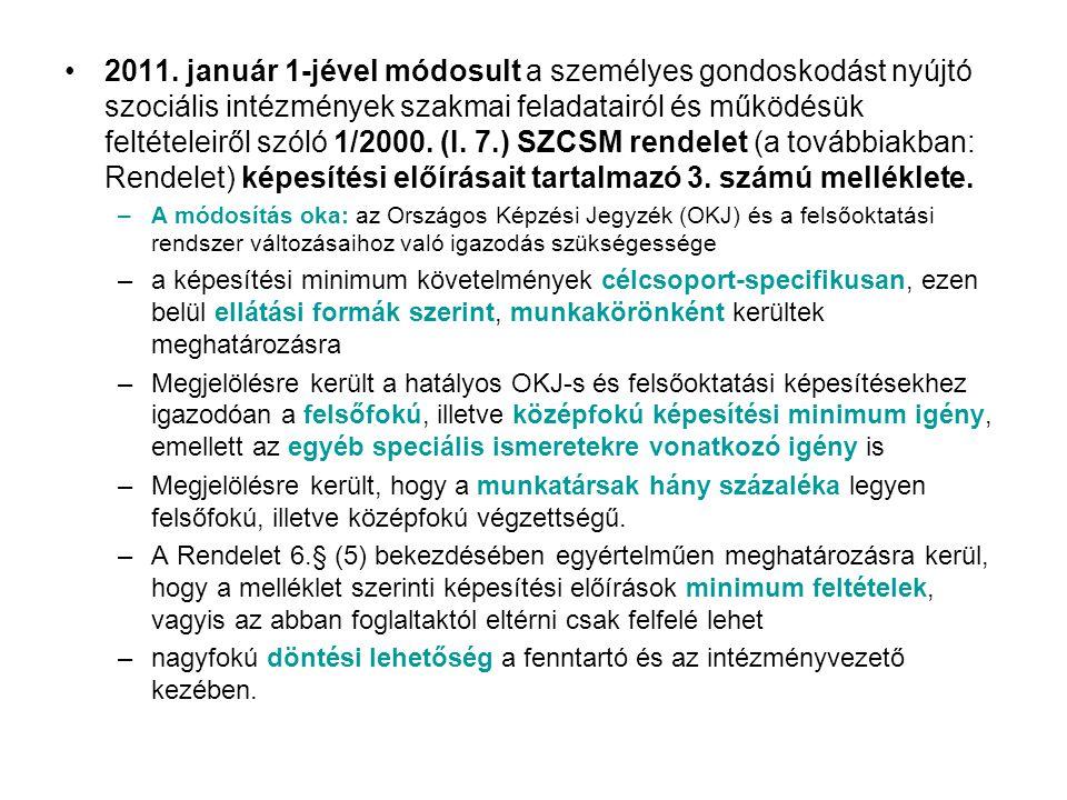 2011. január 1-jével módosult a személyes gondoskodást nyújtó szociális intézmények szakmai feladatairól és működésük feltételeiről szóló 1/2000. (I.