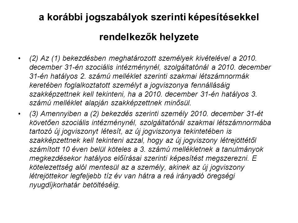 a korábbi jogszabályok szerinti képesítésekkel rendelkezők helyzete (2) Az (1) bekezdésben meghatározott személyek kivételével a 2010.
