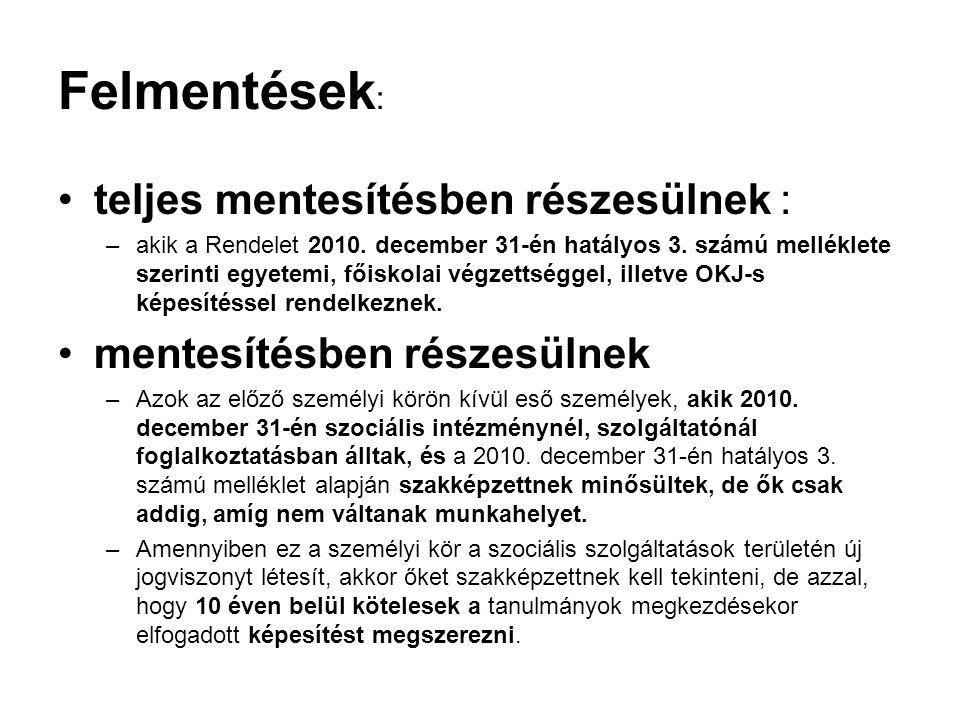 Felmentések : teljes mentesítésben részesülnek : –akik a Rendelet 2010. december 31-én hatályos 3. számú melléklete szerinti egyetemi, főiskolai végze