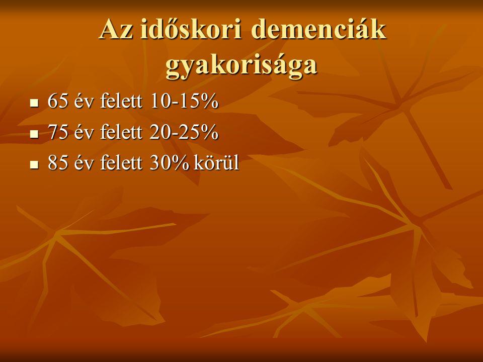Az időskori demenciák gyakorisága 65 év felett 10-15% 65 év felett 10-15% 75 év felett 20-25% 75 év felett 20-25% 85 év felett 30% körül 85 év felett 30% körül
