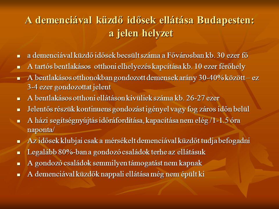 A demenciával küzdő idősek ellátása Budapesten: a jelen helyzet a demenciával küzdő idősek becsült száma a Fővárosban kb.