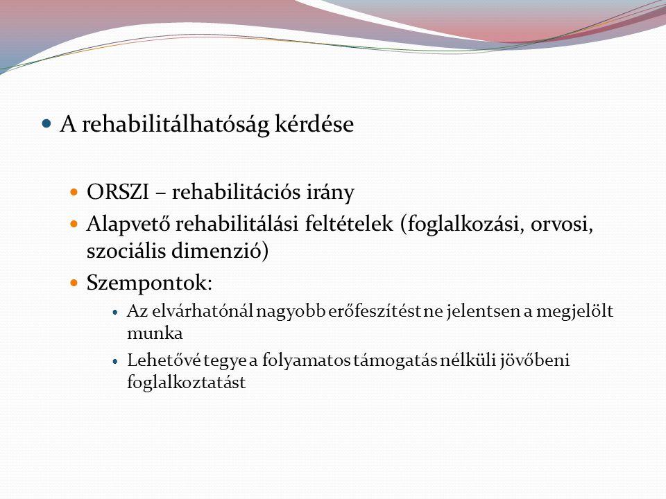 A rehabilitálhatóság kérdése ORSZI – rehabilitációs irány Alapvető rehabilitálási feltételek (foglalkozási, orvosi, szociális dimenzió) Szempontok: Az elvárhatónál nagyobb erőfeszítést ne jelentsen a megjelölt munka Lehetővé tegye a folyamatos támogatás nélküli jövőbeni foglalkoztatást