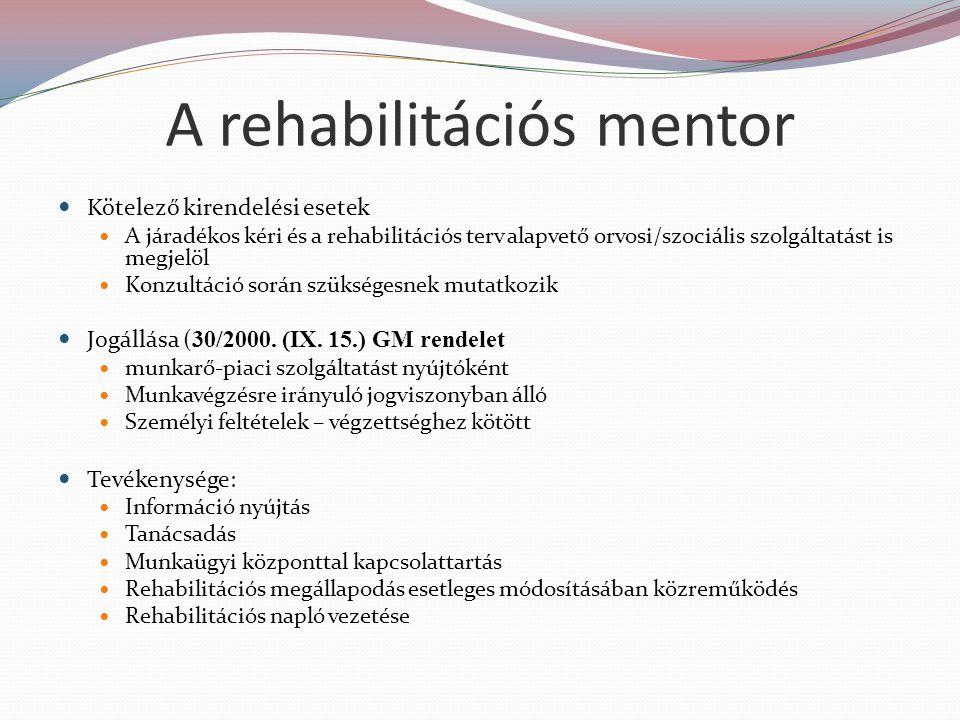 A rehabilitációs mentor Kötelező kirendelési esetek A járadékos kéri és a rehabilitációs terv alapvető orvosi/szociális szolgáltatást is megjelöl Konzultáció során szükségesnek mutatkozik Jogállása ( 30/2000.