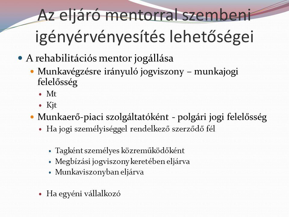 Az eljáró mentorral szembeni igényérvényesítés lehetőségei A rehabilitációs mentor jogállása Munkavégzésre irányuló jogviszony – munkajogi felelősség Mt Kjt Munkaerő-piaci szolgáltatóként - polgári jogi felelősség Ha jogi személyiséggel rendelkező szerződő fél Tagként személyes közreműködőként Megbízási jogviszony keretében eljárva Munkaviszonyban eljárva Ha egyéni vállalkozó