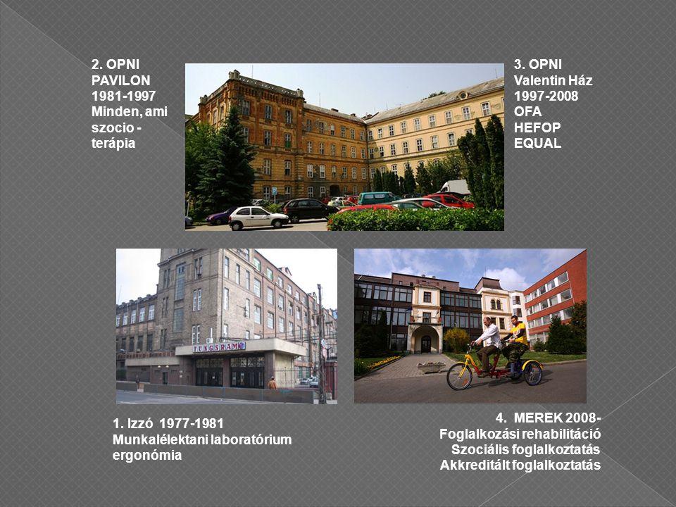 2. OPNI PAVILON 1981-1997 Minden, ami szocio - terápia 3.