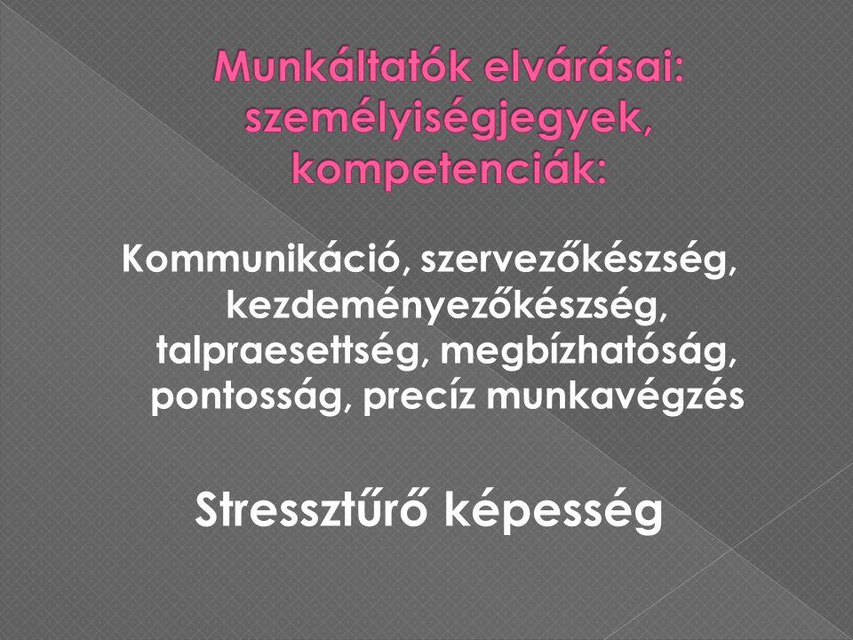 Kommunikáció, szervezőkészség, kezdeményezőkészség, talpraesettség, megbízhatóság, pontosság, precíz munkavégzés Stressztűrő képesség