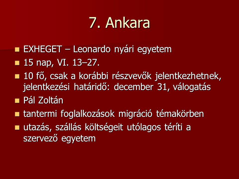 7. Ankara EXHEGET – Leonardo nyári egyetem EXHEGET – Leonardo nyári egyetem 15 nap, VI.