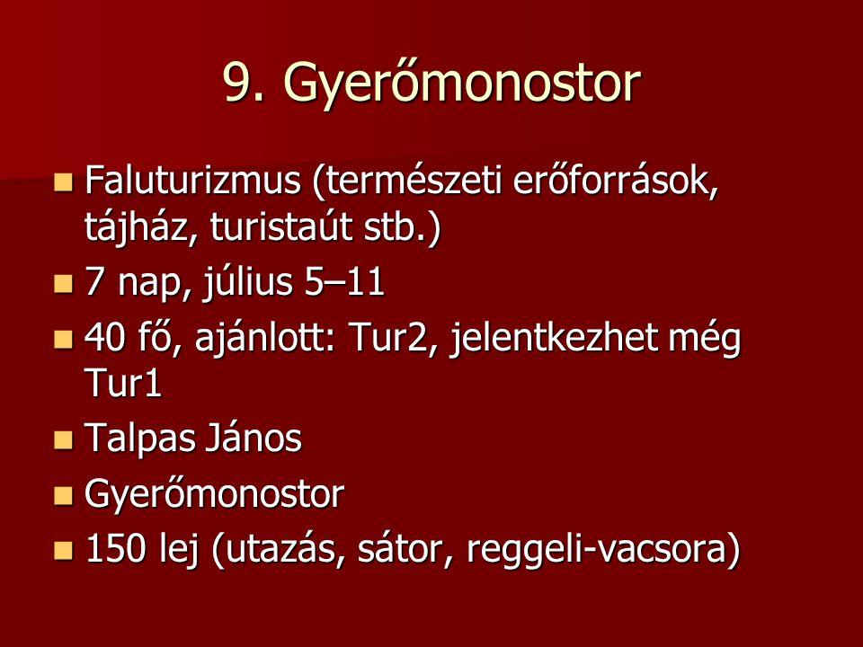9. Gyerőmonostor Faluturizmus (természeti erőforrások, tájház, turistaút stb.) Faluturizmus (természeti erőforrások, tájház, turistaút stb.) 7 nap, jú