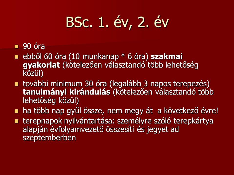 BSc 3.év, MSc. BSc. 3. év: szakdolgozat (kötelező) + jelentkezhet tanulmányi kirándulásra BSc.