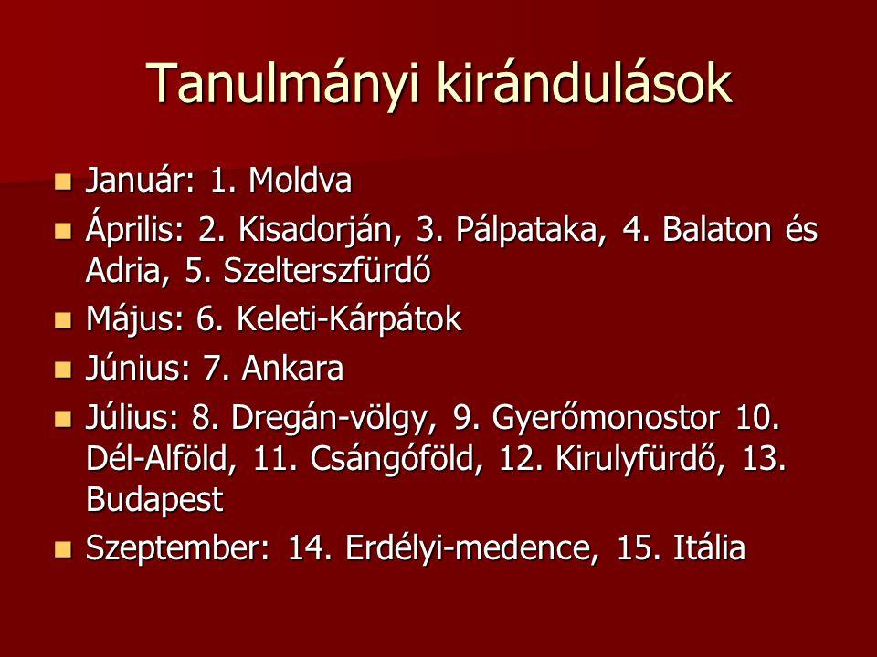 Tanulmányi kirándulások Január: 1. Moldva Január: 1.
