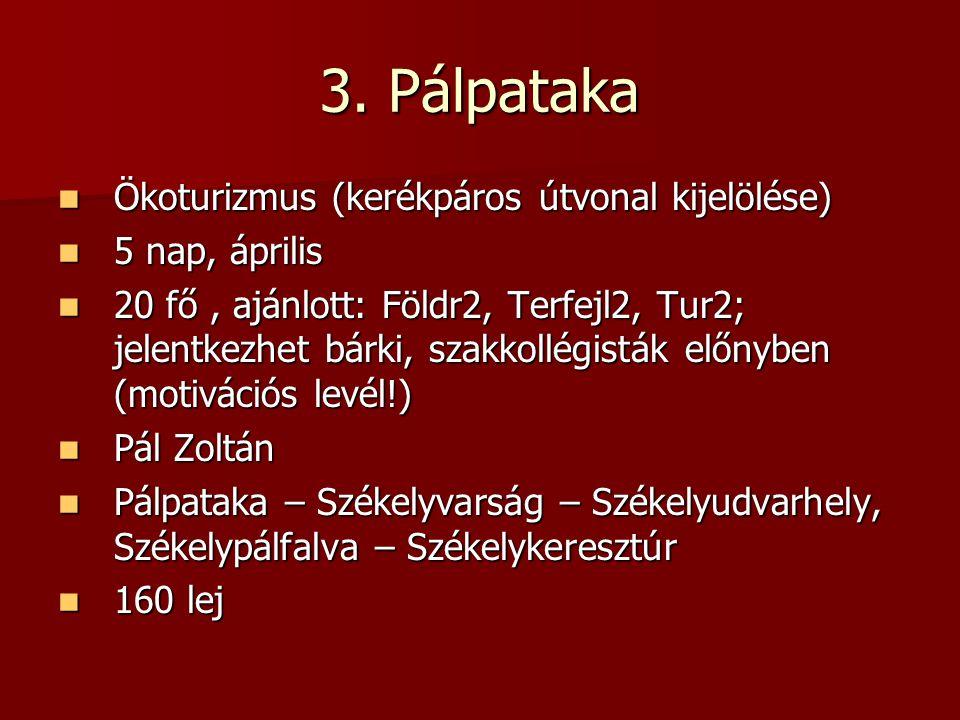 3. Pálpataka Ökoturizmus (kerékpáros útvonal kijelölése) Ökoturizmus (kerékpáros útvonal kijelölése) 5 nap, április 5 nap, április 20 fő, ajánlott: Fö