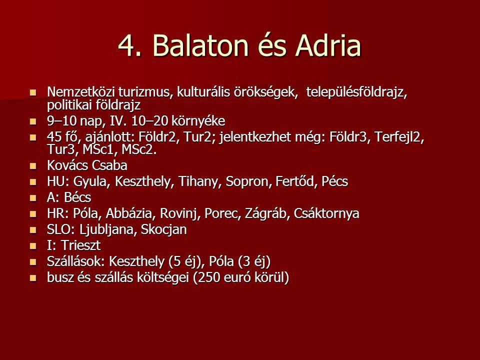 4. Balaton és Adria Nemzetközi turizmus, kulturális örökségek, településföldrajz, politikai földrajz Nemzetközi turizmus, kulturális örökségek, telepü