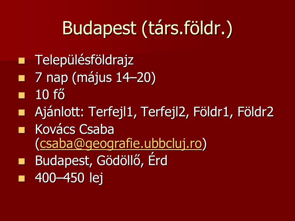 Budapest (társ.földr.) Településföldrajz Településföldrajz 7 nap (május 14–20) 7 nap (május 14–20) 10 fő 10 fő Ajánlott: Terfejl1, Terfejl2, Földr1, Földr2 Ajánlott: Terfejl1, Terfejl2, Földr1, Földr2 Kovács Csaba (csaba@geografie.ubbcluj.ro) Kovács Csaba (csaba@geografie.ubbcluj.ro) Budapest, Gödöllő, Érd Budapest, Gödöllő, Érd 400–450 lej 400–450 lej